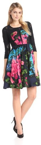 Tracy Reese Women's Long Sleeve Printed Contrast Fit and Flare Frock Dress