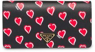 Prada Saffiano leather heart print mini-bag