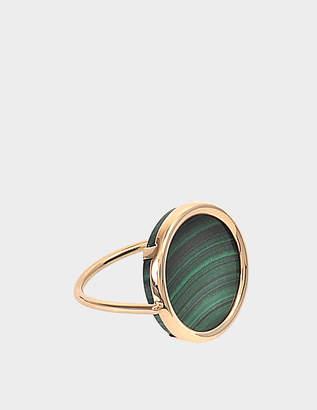 ginette_ny Ever Malachite 18-karat rose gold Disc ring