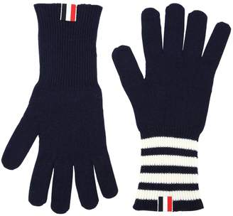 Thom Browne Cashmere Knit Gloves W/ Stripes