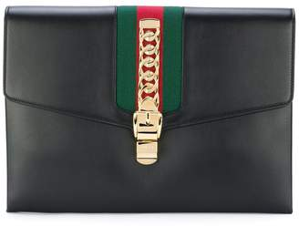 Gucci Black Sylvie maxi leather clutch bag