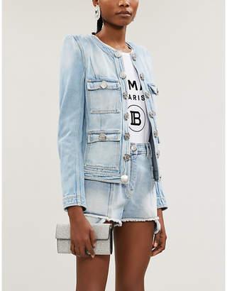 Balmain Frayed-hem high-rise denim shorts