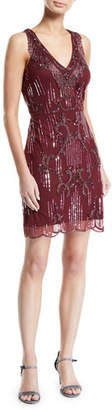 Aidan Mattox Beaded Sleeveless Cocktail Dress w/ Fringe Neckline