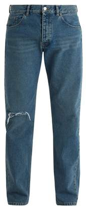 Balenciaga Archetype Distressed Straight Leg Jeans - Mens - Blue