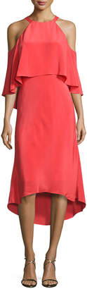 Kobi Halperin Emelia Cold-Shoulder Silk Cocktail Dress