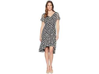 Sangria Polka Dot Short Sleeve Lace Dress Women's Dress