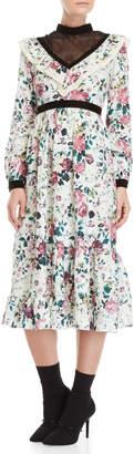 Manoush Ruffled High Neck Floral Midi Dress