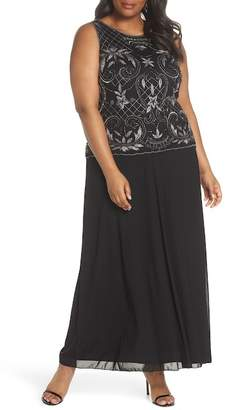 Pisarro Nights Beaded & Embroidered Bodice Mesh A-Line Gown (Plus Size)