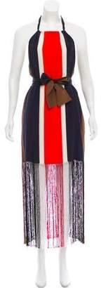 Fendi Printed Halter Silk Dress