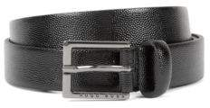 BOSS Hugo Patent calf-leather belt Scotch-grain embossing 36 Black