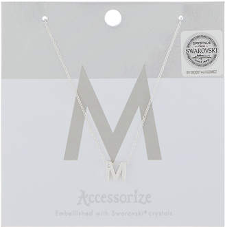 Accessorize Initial M Pendant Necklace with Swarovski Crystal