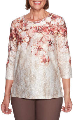 Alfred Dunner Sunset Canyon 3/4 Sleeve Crew Neck Floral T-Shirt-Womens