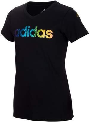 adidas Girls 7-16 climalite Rainbow-Foil Print Logo Graphic Tee