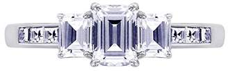 Platinum-Plated Sterling Simulated Diamonds Emerald Cut Halo with Split Shank Ring