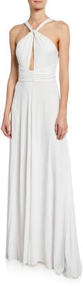 Milly Becca Halter Keyhole-Front Column Gown