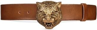 Leather Belt with Feline Buckle $590 thestylecure.com