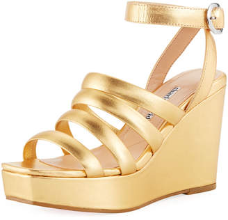 Charles David Judy Strappy Patent High Wedge Sandals, Gold