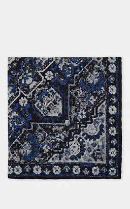 Eleventy Men's Geometric-Pattern Wool-Cotton Pocket Square - Navy