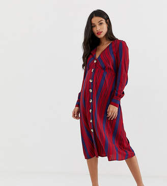 b0078221e84f New Look Maternity stripe button through dress in multi