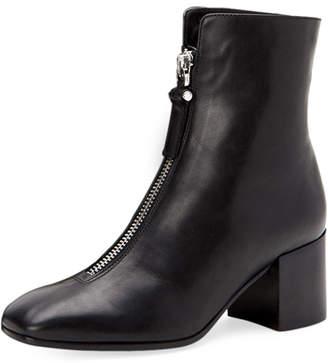 Aquatalia Camden Leather Front-Zip Booties