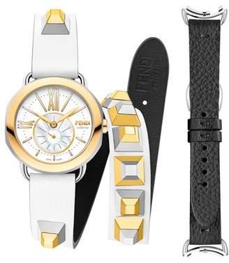 Fendi Selleria Round Leather Strap Watch Set, 36mm