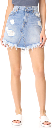 7 For All Mankind Raw Hem Miniskirt $189 thestylecure.com