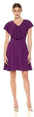 Lark & Ro Women's Ruffled V-Neck Fit and Flare Dress
