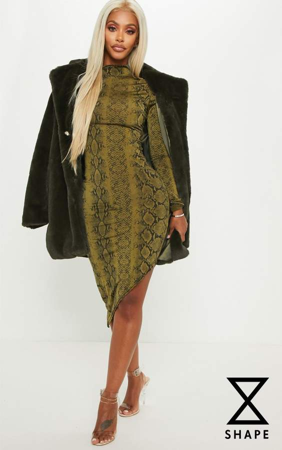 Shape Khaki High Neck Snake Print Bodyco...
