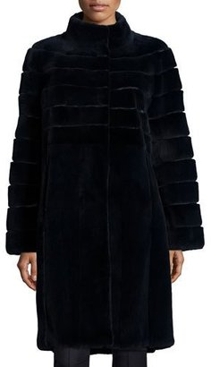 Michael Kors Reversible Horizontal Mink Fur Coat, Navy $12,000 thestylecure.com