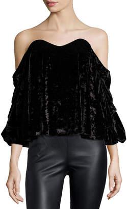 Caroline Constas Gabriella Off-the-Shoulder Velvet Bustier Top, Black