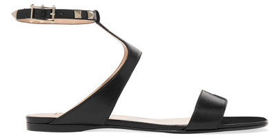 Valentino - The Rockstud Leather Sandals - Black