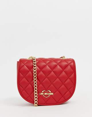 9ea8f3576df Love Moschino quilted across body bag with gold chain strap