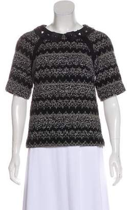 Milly Printed Virgin Wool Top