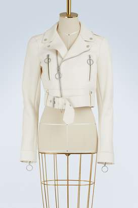 Off-White Off White Cropped leather biker jacket