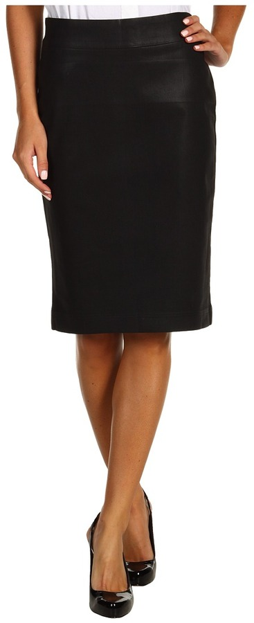 Miraclebody Jeans Tina Skirt Coated Denim (Black) - Apparel
