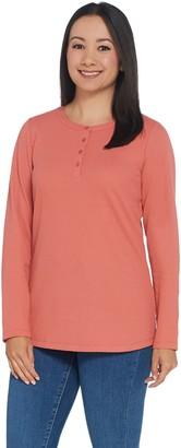 Denim & Co. Essentials Long Sleeve Buttton Henley Waffle Knit Top