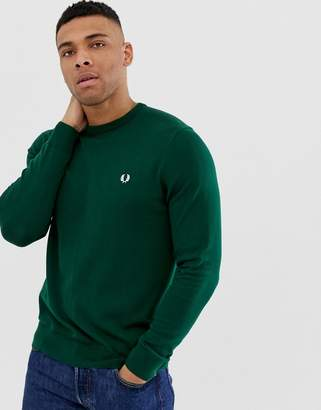 Fred Perry crew neck jumper in green