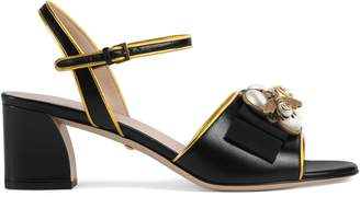 Gucci Leather mid-heel sandal with bee