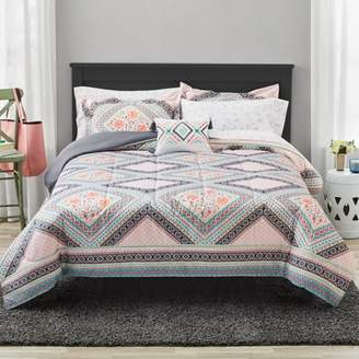 Mainstays Diamond Floral Bed In a Bag Comforter Bedding Set, Queen