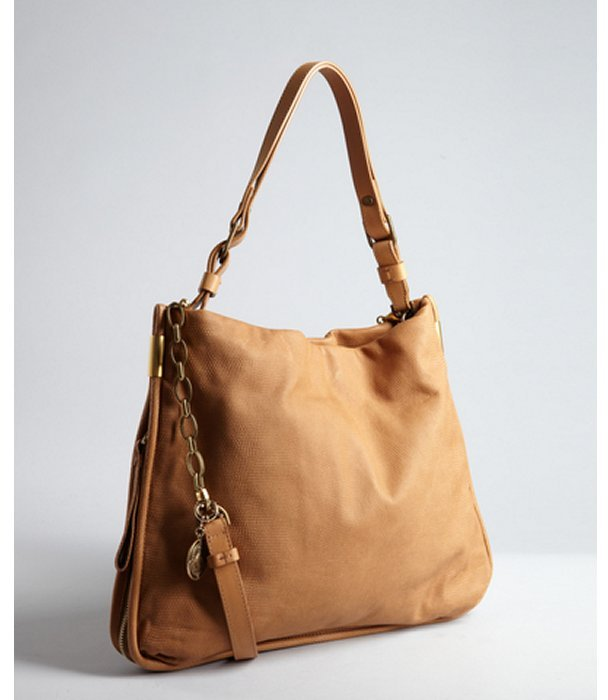 Lanvin camel textured leather 'Amalia' slouchy shoulder bag