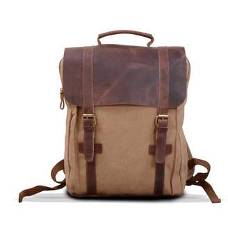 EAZO - Canvas & Leather Backpack in Khaki