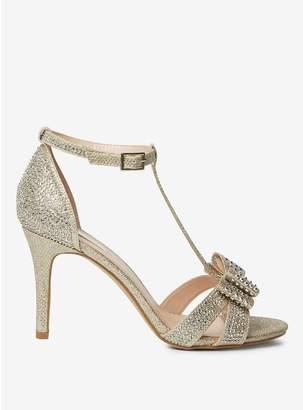Dorothy Perkins Showcase Gold Sofia Bow T-Bar Heel Sandals