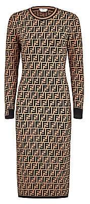 Fendi Women's FF Logo Jacquard Sweater Dress