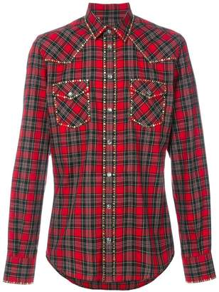 Dolce & Gabbana studded Western checked shirt
