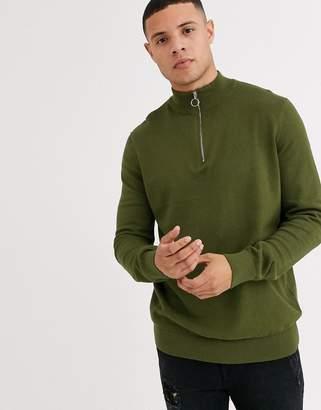 New Look half zip jumper in khaki