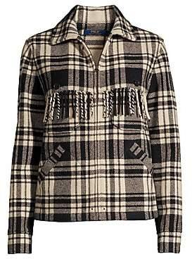 Polo Ralph Lauren Women's Fye Plaid Fringe Jacket