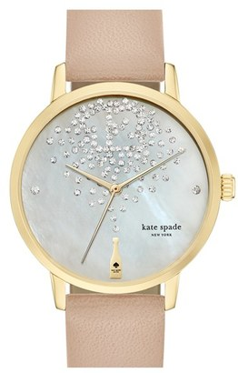 Women's Kate Spade New York 'Metro' Leather Strap Watch, 34Mm $225 thestylecure.com