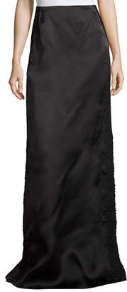 Marchesa Lace-Border Satin Column Skirt, Black