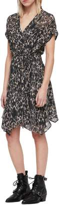AllSaints Claria Leopard Print Wrap Dress