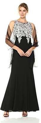 Alex Evenings Women's Long Embroidered Dress with Shawl